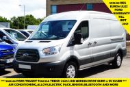 FORD TRANSIT 350/130 L3H2 LWB MEDIUM ROOF EURO 6 ULEZ IN SILVER WITH ONLY 24.000 MILES,AIR CONDITIONING,PARKING SENSORS,ALLOYS AND MORE - 1484 - 1
