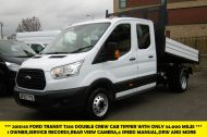 FORD TRANSIT 350 L3 DOUBLE CREW CAB ALLOY TIPPER WITH ONLY 34.000 MILES,6 SPEED MANUAL,TOW BAR AND MORE  - 1228 - 1