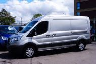 FORD TRANSIT 350/130 L3H2 LWB MEDIUM ROOF EURO 6 ULEZ IN SILVER WITH ONLY 24.000 MILES,AIR CONDITIONING,PARKING SENSORS,ALLOYS AND MORE - 1484 - 2